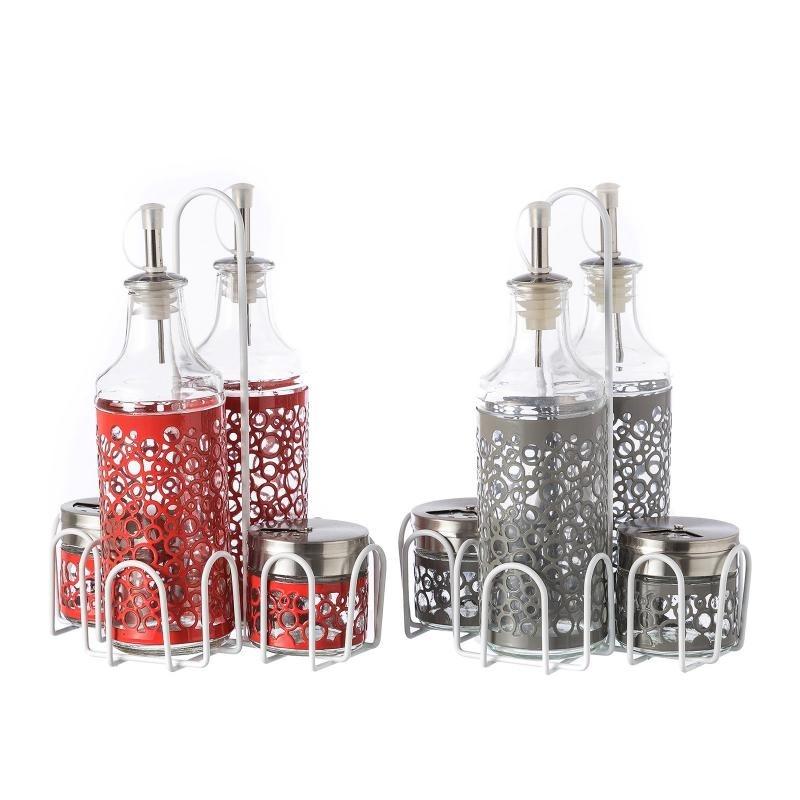 Aceitera vinagrera moderna color de cristal para cocina iris - Aceiteras de cristal ...