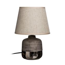 Lámpara mesa plata cerámica-tejido 20 x 20 x 28 cm