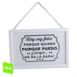 Placa mensaje decorativa happy L 20X30X1,2 CM