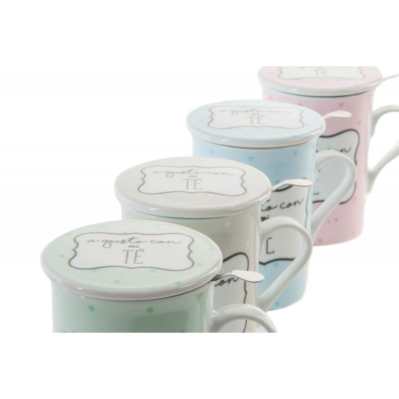 Tazas de infusiones con frases de color pack de 4 tazas for Tazas de te con tapa