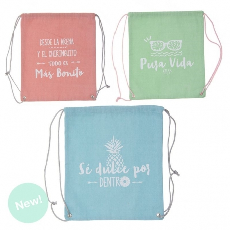 Bolsa GYM BAG summer con frases colores .