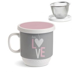 Taza con filtro corazon tea love .