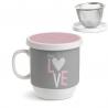 Taza con filtro corazon tea love .