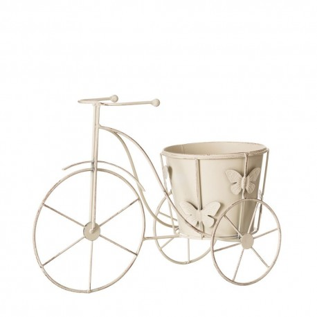 Macetero bicicleta crema metal jardín 36 x 15 x 26 cm .