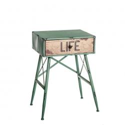 Mesilla de noche de 1 cajón industrial verde de metal para dormitorio Bretaña