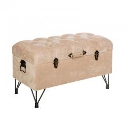 Banqueta baúl industrial beige de madera para decoración Fantasy