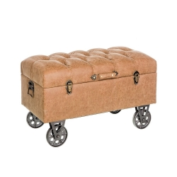 Banqueta baúl industrial marrón de madera para decoración Factory