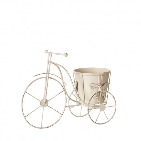 Macetero bicicleta crema metal jardín 30 x 12 x 22 cm .