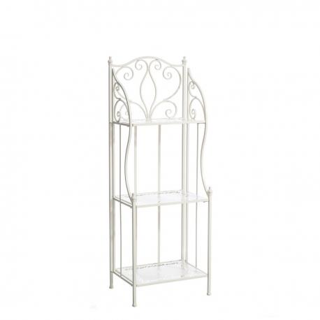 Estantería decorativa romántica blanca de hierro para terraza France