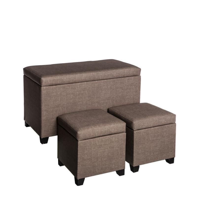Puff baúl clásico marrón de madera para salón Vitta| Dcasa.es