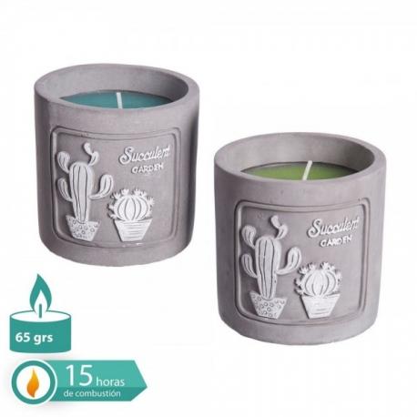 Velas perfumada cactus x2 en base cemento 8x8 cm .