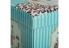 Puff plegable romántico azul de pu para dormitorio France