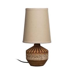 Lámpara mesa marrón cerámica-tejido 13 x 13 x 26 cm