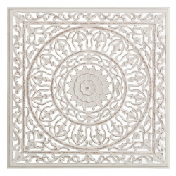 Mural - tallada blanco rozado dm étnico 90 x 2 x 90 cm .