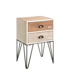 Mesilla de noche de 2 cajones industrial beige de madera para dormitorio Vitta