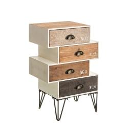 Mesita de 4 cajones industrial beige de madera para decoración Vitta