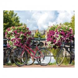 Cuadro de bicicleta provenzal lila de lienzo para decoración de 100 x 80 cm France