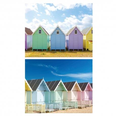 Set 2 cuadro fotoimpresión lienzo casitas colores 100 x 3 x 80 cm