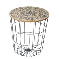 Mesa centro tapa madera nordic mandala natural 40 x 40 x 42,50 cm .