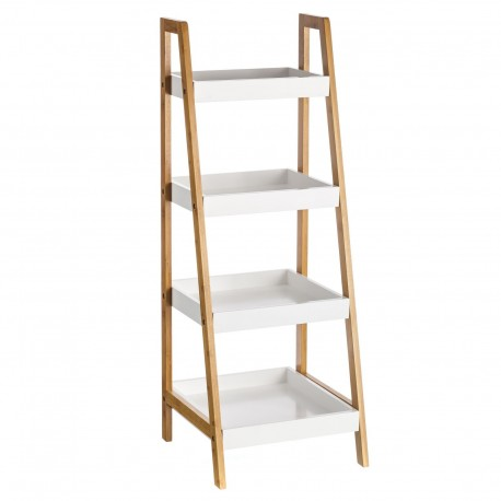 """Estantería 4 baldas bambú / """"mdf"""" 35 x 34 x 98 cm baldas en blanco."""