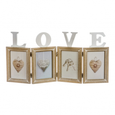 Marco de fotos multiple sobremesa original de madera LOVE .