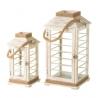 Set de 2 faroles portavelas rústicos grises de madera para decoración Sol Naciente
