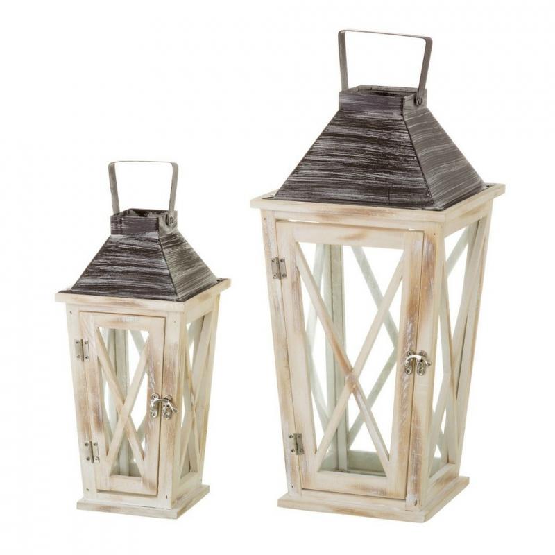 Set de 2 faroles portavelas cl sicos beige de madera para - Portavelas grandes ...