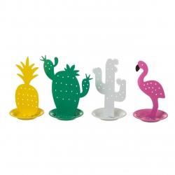 Joyero sobremesa metal cactus & flamencos y piña - Pack 4 piezas