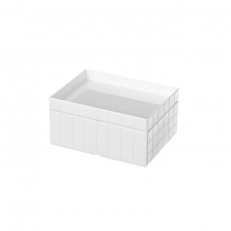 Organizador con tapa blanco abs para cuarto de baño .
