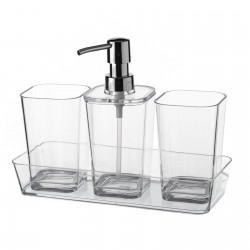 Set baño 4 piezas poliestireno 2 vasos y 1 dispensador con bandeja.