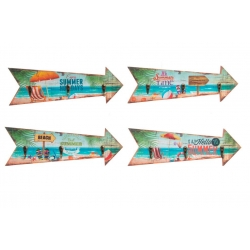 Set 4 cuadro de pared madera perchero vintage SURF 40x14 cm .
