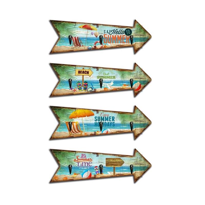 Set 4 cuadro de pared madera perchero vintage summer 30x10 - Percheros pared vintage ...