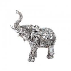 Figura elefante de resina cromado decape .