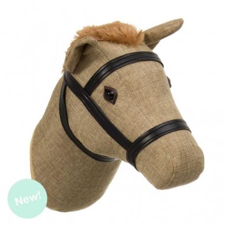 Cabeza decorativa caballo color beige .