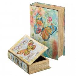 """S/2 libro """"butterfly"""" seda-mdf 18 x 7 x 27 cm pequeña: 13 x 5 x 21 cm."""