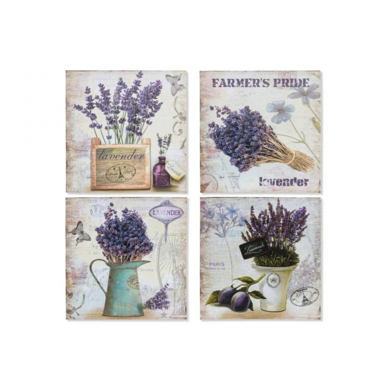 Decoracion Pared Metal Lavanda 30x30 Set 4 Pieza