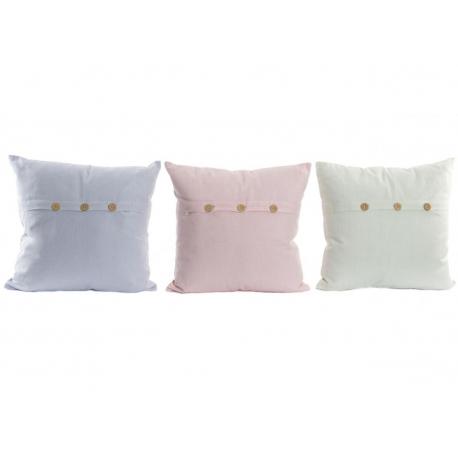 Cojines 100% algodon colores pastel con boton .