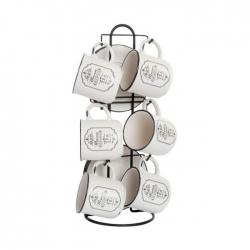 Tazas de cafe ceramica con soporte paris 180cc .