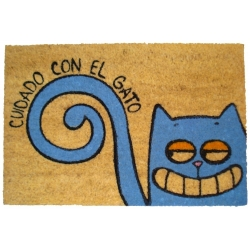 Felpudo con Diseño Cuidado con El Gato 60 x 40 cm