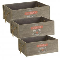 Cajas multiusos modernas con mensaje mundo mejor de madera para salón.