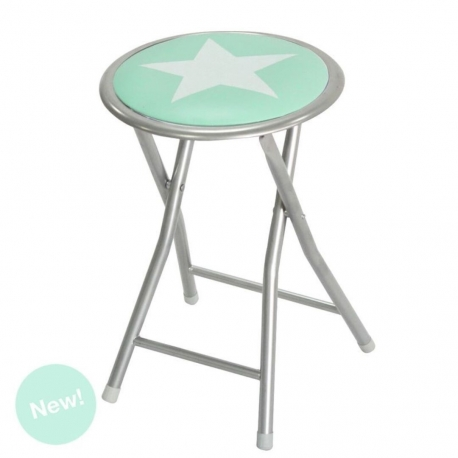 Taburete plegable estrella color mint .