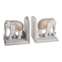 Apoya libros elefantes resina 30 cm .