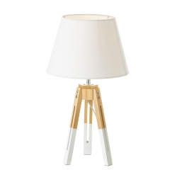Lámpara de sobremesa nórdica blanca de madera para salón Vitta