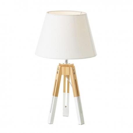 Lámpara de sobremesa nórdica blanca de madera para salón Vitta| dcasa.es