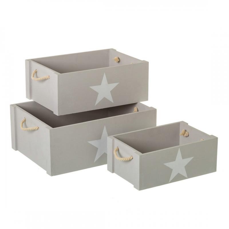 Juego de 3 cajas multiusos infantiles grises de madera para dormitorio - Cajas de ordenacion ...
