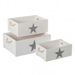 Cajas multiusos infantiles blancas de madera para dormitorio Child