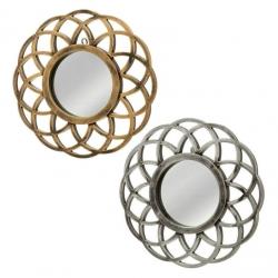 Set 2 espejo circular polipropileno 25 x 2 x 25 cm oro y plata. espejo 14cm.