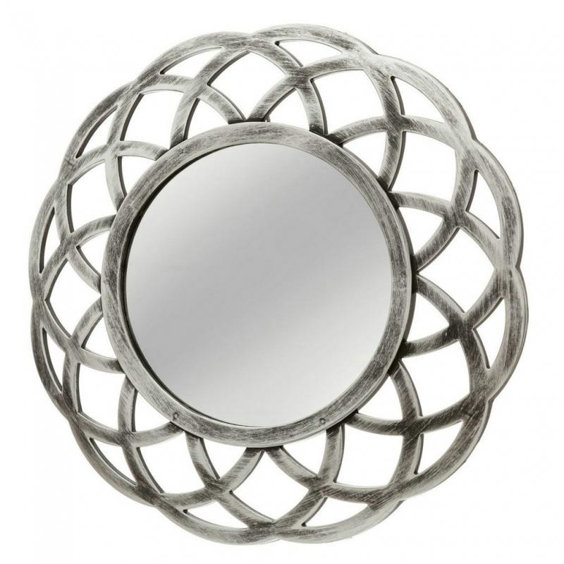 Espejo circular plata polipropileno 40 x 2 x 40 cm for Espejo circular
