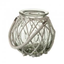 Portavelas blanco cristal 18,50 x 18,50 x 18 cm