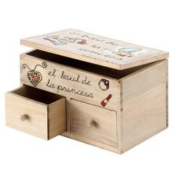 Caja 2 cajones pino 24 x 16 x 16 cm el baúl de la princesa.